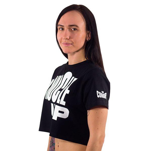 Женская футболка хлопок (Knuckle up) - Чёрный